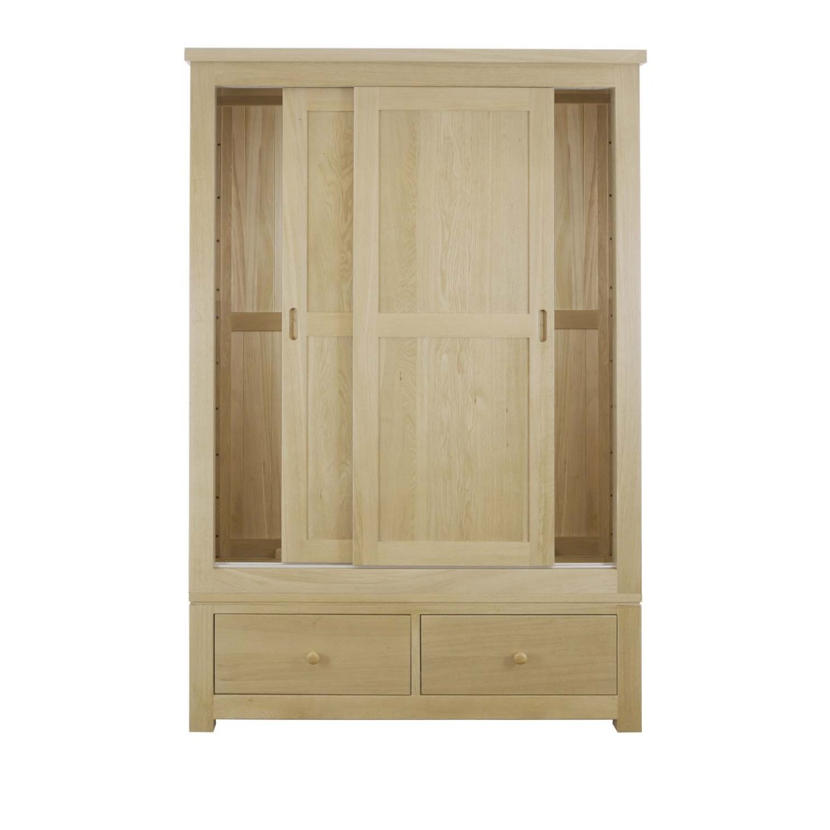 Sliding door double wardrobe solid oak for Double sliding doors