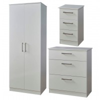 Matt white 3 piece bedroom set