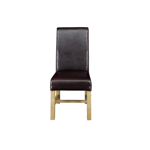 Leather dining chairs with cross bar