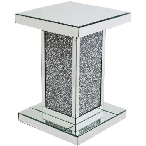 Crushed glass lamp table