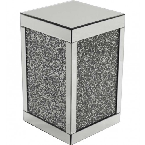 Crushed glass cube lamp table